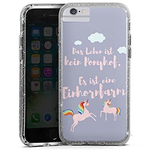 Apple iPhone 6s Plus Bumper Hülle Bumper Case Glitzer Hülle Spruch Ponyhof Unicorn Bumper Case Glitzer silber