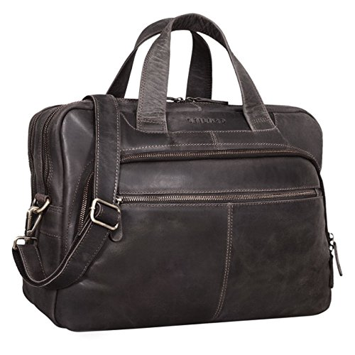STILORD 'Lias' Umhängetasche Leder Herren Vintage 15,6 Zoll Businesstasche Laptoptasche groß Arbeit Büro Uni Antik Leder, Farbe:dunkel - braun - Verarbeitetes Leder