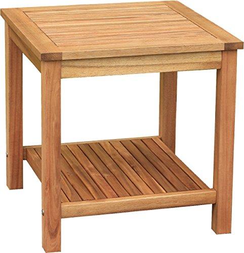 colourliving® Beistelltisch Holz massiv Akazienholz Gartentisch Tisch 50x50x50 cm -