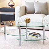 UEnjoy Modern Glass Coffee Table 3 Shelves Chromed Stainless Steel Legs (Clear)