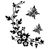 Joyfeel buy 1 pezzo fai da te nero impermeabile rimovibile wall sticker farfalla fiore Vine modello camera da letto soggiorno bagno igienici adesivi