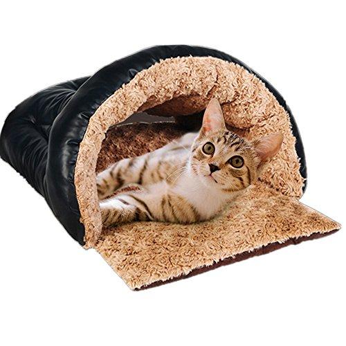 Taoking Katzenhöhle und Bett für Große Katzen Heizung Pu Leder, Schwarz