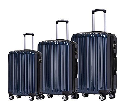 Münicase- Hartschalen Koffer Reisekoffer Trolley Rollkoffer Polycarbonat TSA-Schloß Kofferset Gepäckset (Dunkelblau, 3tlg. Kofferset)