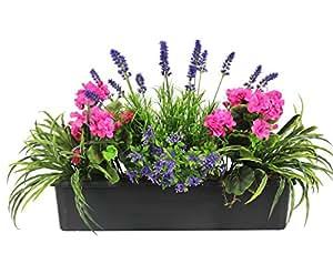 fleurs artificielles m lange bo te bo te fen tre jardini re avec yucca g raniums starflower. Black Bedroom Furniture Sets. Home Design Ideas