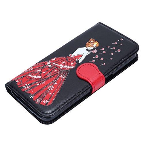 Schutzhülle für Galaxy S7,Galaxy S7 Leder Wallet Tasche Brieftasche Schutzhülle,Hpory Schön Kreative 3D Glänzend Glitzer Windspiele Blumen Muster Ledertasche Brieftasche Handyhülle PU Leder Flip Hülle Löwenzahn Göttin,schwarz
