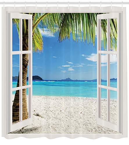 ng, Weiße Fenster Rahmen Welche Sich zu einer Tropische Insel einen Palmen Strand Öffnet Bunt Druck, Blickdicht aus Stoff mit 12 Ringen Waschbar Langhaltig Hochwertig, 175 X 200 cm ()