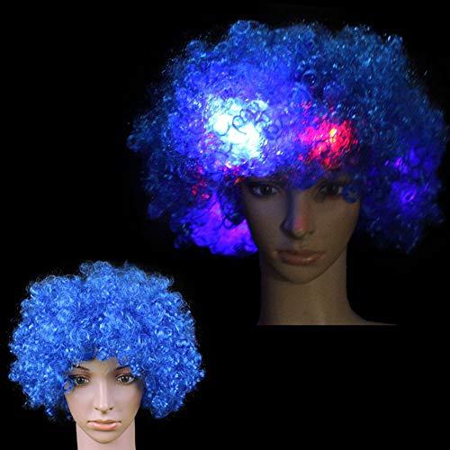 Hereubuy LED-Perücke, blinkend, gelockt, leuchtende Regenbogen-Clown-Perücke, Mehrfarbig, LED-Lichter in Spielzeug, Spielen und - Clown Afro Perücke Kostüm
