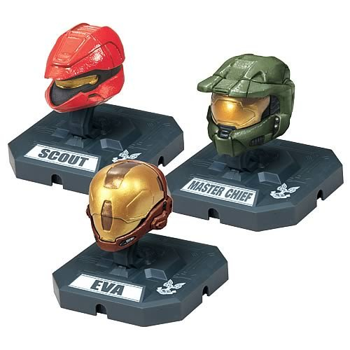 (McFarlane Toys Action Figures - Halo 3 Helmet 3-Pack Wave 2 - SCOUT (Red), MASTER CHIEF (Olive), EVA by Unknown)