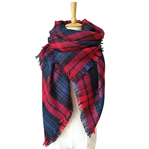 VINNEL® Tartan Fashion Scarfs for Women Lovely Best Gift Scarf Wrap Shawl (Red)