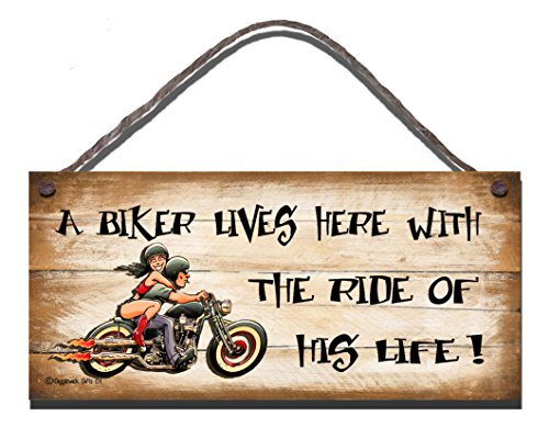 Shabby Chic Birthday Occasion Wooden Funny Sign Wall Plaque Wooden Funny Sign A biker Lives Here With The Ride Of His Life Gift Present by Gigglewick Gifts