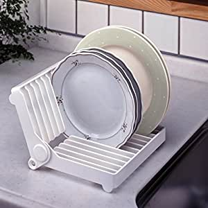 Foldable Mini Dish Drip Rack Drainer Plate Holder White Ideal For Small Space Travel