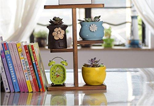 Blumentopf-Finish-Rack. Pflanze Desktop Kleine Blume Rahmen Einfache hölzerne Blume Stand Pastoral Blume Ziegel Terrasse Pflanzen vergoldet Rack ( Farbe : #2 )