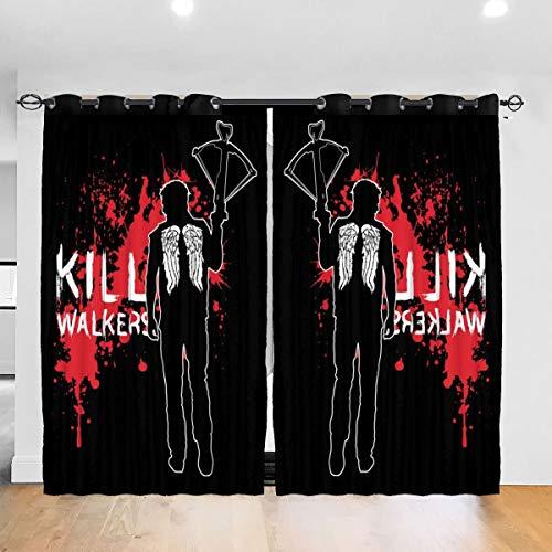 HONGYANW Vorhänge The Walking Dead Daryl mit Armbrust und Ösen, zur Verdunkelung von Fenstern, zur Verdunkelung, für Schlafzimmer, Wohnzimmer, 132 x 183 cm, 2 Paneele