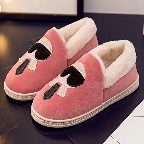 DogHaccd pantofole,Scarpe di cotone di donne caldo inverno soggiorno scarpe carine le coppie pacchetto radice pantofole di cotone felpato scarpe pantofole Donne Uomini Rosa3