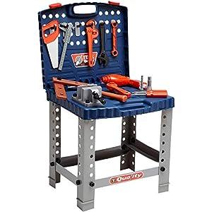 GLOBO 36448 Set de herramientas de juguete herramienta de juguete - Herramientas de juguete (Set de herramientas de juguete, Negro, Azul, Metálico, Naranja, Niño, 58 pieza(s), Martillo, Saw, Destornillador, Tornillos, Caja)