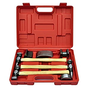 mewmewcat 7-TLG. Karosserie-Ausbeulset Ausbeulhammer Dellen-Reparatur-Set