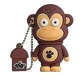 Tribe Animals Frank Mono - Memoria USB 2.0 de 8 GB Pendrive Flash Drive de Goma con Llavero, Color marrón