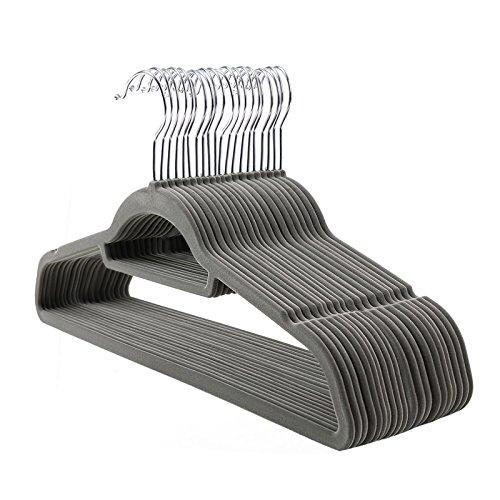 Songmics Kleiderbügel Anzugbügel 20 Stück 0,6 cm dick 360° drehbarer Haken mit rutschfeste Oberfläche dünn, Samt, Grau CRF20V
