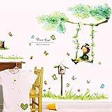 The Girl Swinging Baum Schmetterlinge Wandtattoo House Aufkleber abnehmbarer Wohnzimmer Tapete Schlafzimmer Küche Art Bild Wandmalereien Sticks PVC Fenster Tür Dekoration + 3D Frosch Auto Aufkleber Geschenk
