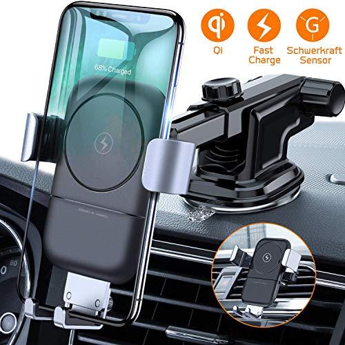 VANMASS Wireless Charger Auto Handyhalterung 2 in 1 Automatisch Schwerkraft 10W/7.5W Lüftung & Armaturenbrett Handyhalter Fürs Auto Qi Ladestation Für iPhone XS/XR/X/8P Samsung S10/S9/S8 & Qi Fähige