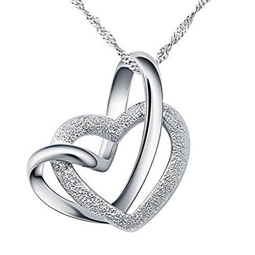 Miya luxus Collana con ciondolo in argento 925 doppio cuore, con cristalli, 45 cm argento
