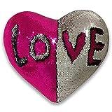 Qinpin Kissenbezüge, Valentinstags-Form, zweifarbige Pailletten Überwurfkissen, Heimdekorationskissen, Stoff, e, 38cmX35cm