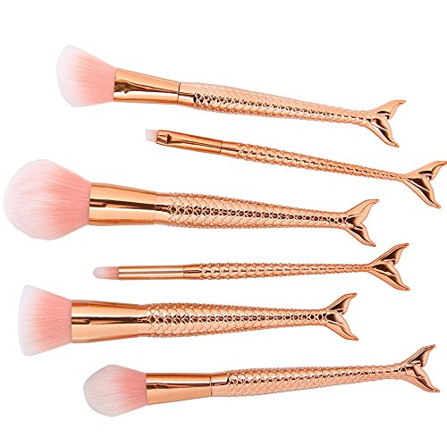 6 Pcs Mermaid Makeup Brush Set Synthetic Kabuki Foundation Blending Blush Eyeliner Face Powder Brush Makeup Brush Kit Beauty Cosmetic Tools (Rose gold)