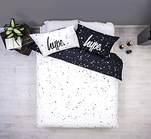 emma bettdecke Hype Bettwäsche-Set mit passenden Kissenbezügen, Motiv: schwarze und weiße Flecken, hochwertiger Druck, 100 % Baumwolle, superweiches Material, baumwolle, weiß, Doppelbett