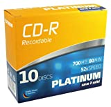 Platinum CD-R 700 MB CD-Rohlinge (52x Speed, 80 Min) 10er Slim Case