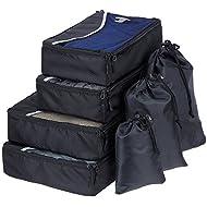 SWISSONA organizador para maleta de 7 piezas, robusto & duradero, en negro | 2 años de garantía de satisfacción | bolsa de viaje, bolsa para ropa, bolsa para equipaje, organizador de viaje