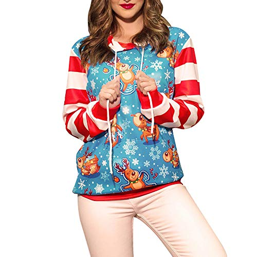 (LOLIANNI Damen Weihnachten Sweater Drucken Langarm Hoodie Frauen Sweatshirt Pullover Top Tunika Bluse Mädchen Weihnachten Neuheiten Vintage Rundhals mit Weihnachtsmotiv Druck Oberteile)