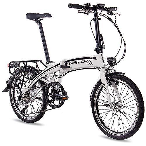 CHRISSON 20 Zoll E-Bike City Klapprad EF1 Weiss - E-Faltrad mit Bafang Nabenmotor 250W, 36V und 30 Nm, Pedelec Faltrad für Damen und Herren, praktisches Elektro Klappfahrrad, perfekt für die Stadt