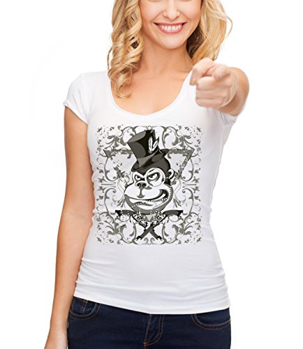 Three Monkeys Monkey From Mafia Animals Collection Women's Megan Crew Neck T-Shirt Bianco Small