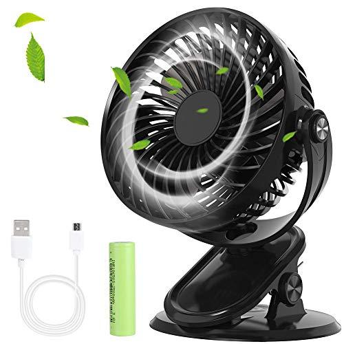 Mini Ventilador USB Silencioso Profesional, Ventiladores Portátil de Escritorio/Mesa/Sobremesa 3 Velocidades con Pinza Bateria Recargable 2500mA para Auto/Hogar/Viaje/Oficina/Actividades al Aire Libre