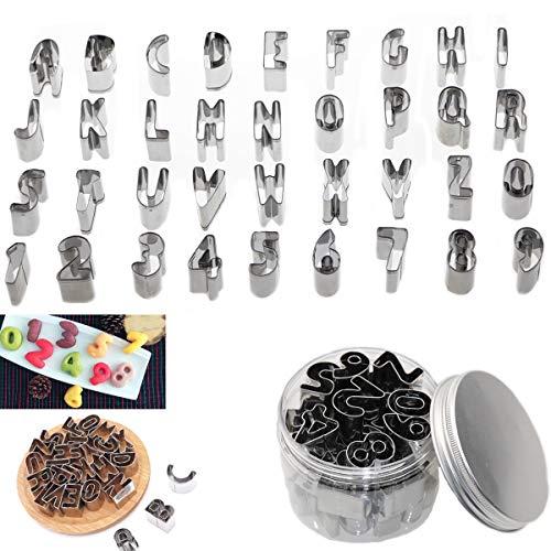ZYDTRIP 36 Pack Ausstechformen für Keks Fondant, Nummer Backen Cutter Mold Kuchen Dekoration Modell Werkzeuge