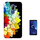 """003485 - Colourful Abstract Flower Tiles Design Alcatel 3V 6.0"""" Fashion Trend Case Gel Silicone All Edges Protection Case Cover"""