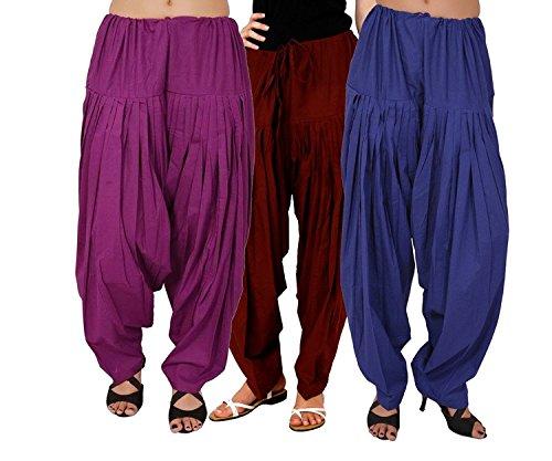 I Shop Traditional Patiala Salwar 100% Cotton Free Size (PURPLE_MEHRUN_BLUE)