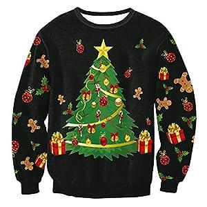 HWTOP Sweatshirts Weihnachtsbaum Damen Oberteil Hemd T-Shirt Pullover Locker Sport Freizeit Premium Bauchfrei Stickerei Kleidung Tops Bluse Shirt Langarmshirt Bluse Frauen Pulli Tops
