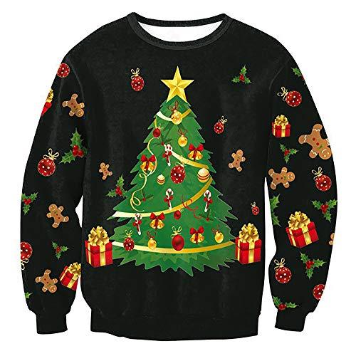 VEMOW Herbst Winter Damen Frauen Weihnachten Schneemann Elch Druck Langen Ärmeln Tops Casual Party Freizeit Sweatshirts Bluse Pullover(X2-Schwarz, 36 DE/S CN)