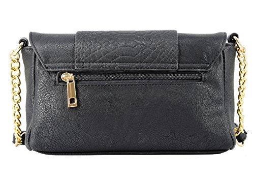 c5bab6c37e354 CRAZYCHIC - Damen Umhängetasche - Python gesteppte - Schlange Tasche - Gold  Kette Schulterriemen - Leder ...