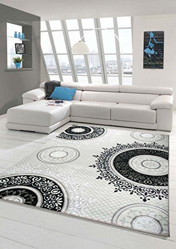 Traum Alfombra de diseño contemporáneo alfombra alfombra clásico patrón adornos circulares en forma de crema Negro Gris Größe 80 x 300 cm