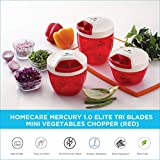 HomeCare Mercury Kitchen master Elite 1.0 Tri Blades Vegetable Chopper - Beater with Convenient Pull Cord Mechanism attached Lid and BPA free Plastic Container - 400 ML (Red)