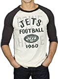 NFL New York Jets Rookie Raglan with Flocking Eggshell Weiß and Schwarz Wash Erwachsene Herren T-shirt (XX-Large)
