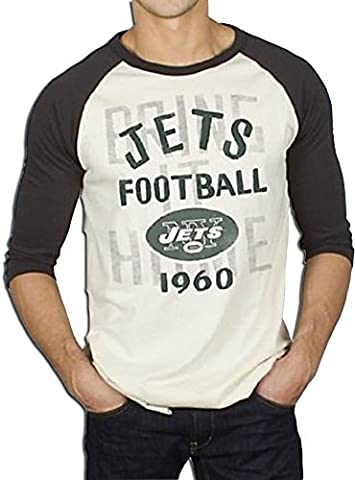 NFL New York Jets Rookie Raglan with Flocking Eggshell Weiß