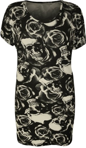 WearAll - Damen Übergröße Kurzarm Totenkopf Rosen Druck T-Shirt Top - Schwarz - 50-52 (Damen Rosen Totenkopf)