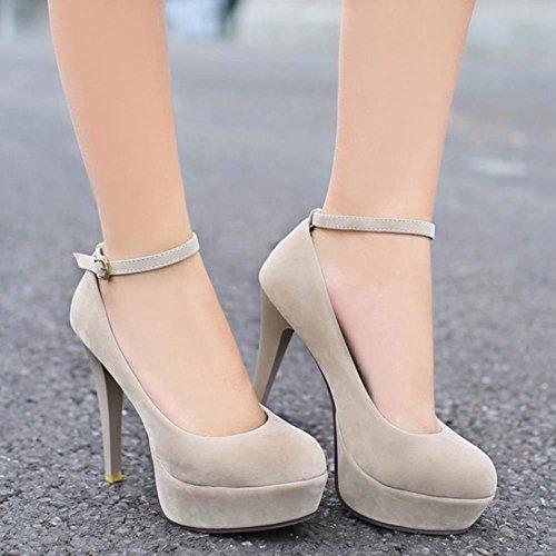 COOLCEPT Femmes Mode Sangle de cheville Talon Aiguille Soiree Robe Talons hauts Court Chaussures Beige