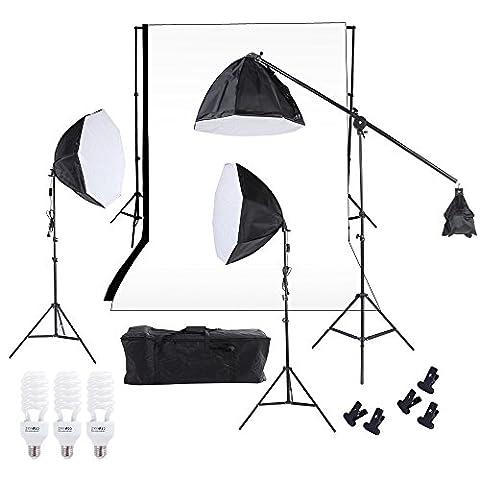 Andoer Ensemble de Triple de Photographie Studio Softbox d'Eclairage Lampe de Photographie Toile de Fond Mousseline Avec Trois 60cm Octagon Softbox Cantilever Pieds de Ampoules Blanc Noir Toile Sac de Transport