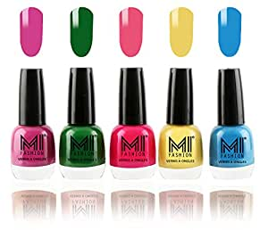 MI Fashion® Color Rich Nail Polish Combo - Bright Plum, Emerald Green, Neon Pink, Pastel Yellow and Ocean Blue - 12ml each