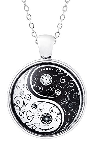 Klimisy - Yin Yang Kette mit Anhänger - Ein Baum wird gepflanzt für jede verkaufte Halskette - Yoga Glas-Amulett in Schwarz-Weiß