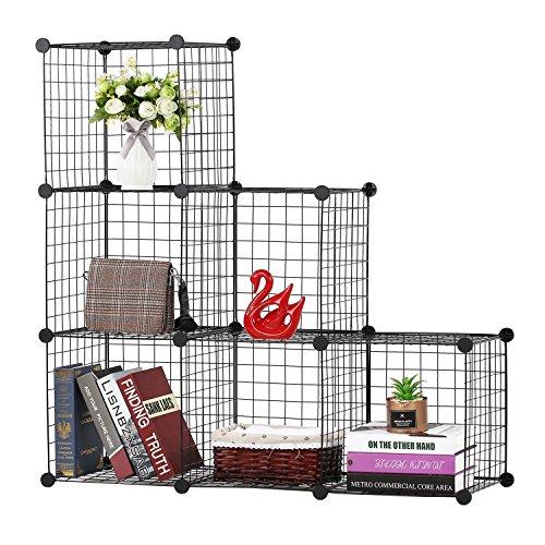 BASTUO 6-Cubes DIY Draht Aufbewahrung Schrank Bücherregal Regal Körbe Modular Cubes, Closet für Toys. Bücher, Kleidung, schwarz -